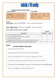 English Worksheet: wish/ if only + conditional type 3
