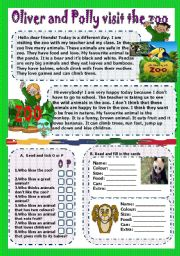 English Worksheets: oliver and polly visit the zoo