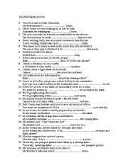 English Worksheet: Sentence transformation