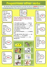 Prepositions after verbs