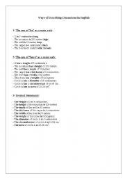 English Worksheets: Dimensions