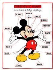 English Worksheets: MICKEY�S BODY 1/2