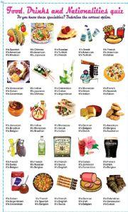 quiz food drinks nationalities worksheets exercises english elementary restaurant trivia printable christmas worksheet level games