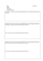 English Worksheets: Response to text template