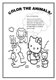 English Worksheet: ANIMALS TO COLOR WITH HELLO KITTY