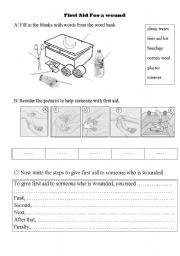 Worksheets First Aid Worksheets For Kids english teaching worksheets first aid foe a wound