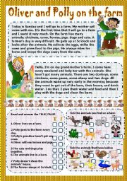 English Worksheet: oliver and polly on the farm