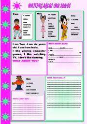 English Worksheets: WRITING ABOUT OURSELVES