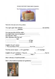 English worksheet: the tallest stake of pancakes