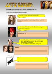 English Worksheet: Let´s gossip: reported speech