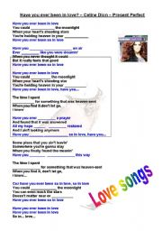 English Worksheet: PRESENT PERFECT SONG - HAVE YOU EVER BEEN IN LOVE