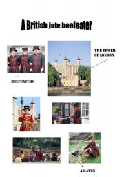 English Worksheet: Beefeaters at The Tower of London