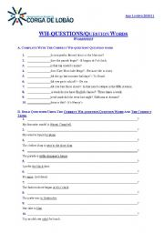 English Worksheets: wh questions/Question words