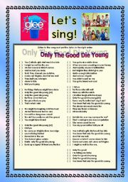 English Worksheet: > Glee Series: Season 2! > SONGS FOR CLASS! S02E03 *.* THREE SONGS *.* FULLY EDITABLE WITH KEY! *.* PART 1/2