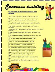 English Worksheets: sentence building