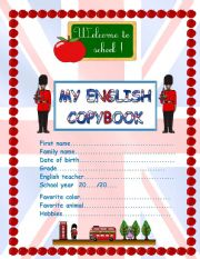 English Worksheets: copybook front page