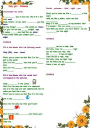 English Worksheet: Working with vocabulary : Song (filling in) : Only girl (Rihanna) - with B&W copy and answer key
