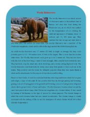 English Worksheets: Extinct Animal Part 1 ( Wooly Rhinoceros)