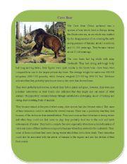 English Worksheets: Extinct Animal Part 2 ( Cave Bear)