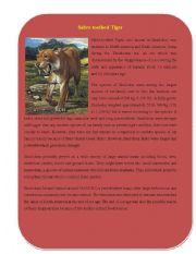 English Worksheets: Extinct Animal Part 3 ( Sabre-toothed Tiger)