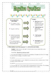 English Worksheets: Negative Questions