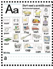 Printables Middle Sound Worksheets english worksheet abc letter a as middle sound