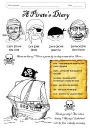 English Worksheet: A Pirate´s Diary, pages 1 and 2