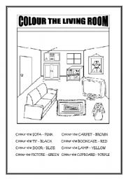 English Worksheet: Colour the Living Room