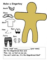 English Worksheet: The Gingerboy (Draw Your Own)