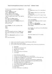 English Worksheet: Don�t be stupid - Shania Twain