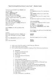 English Worksheets: Don�t be stupid - Shania Twain