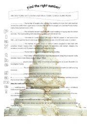 English Worksheet: Royal wedding in numbers