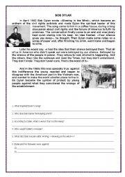 English Worksheets: Bob Dilan