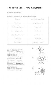 english worksheets this is the life amy macdonald. Black Bedroom Furniture Sets. Home Design Ideas