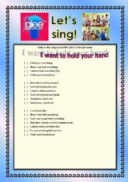 English Worksheet: > Glee Series: Season 2! > SONGS FOR CLASS! S02E03 *.* FOUR SONGS *.* FULLY EDITABLE WITH KEY! *.* PART 2/2