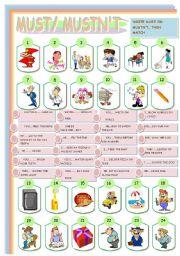 English Worksheet: MUT/MUSTN�T