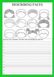 English Worksheets: Describing faces