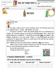 English Worksheet: END OF TERM TEST FOR 7TH FORM