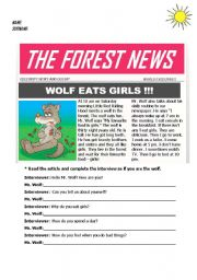 English Worksheet: present simple tense with Little Red Riding Hood