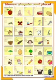 English Worksheet: Nouns: Singular and plural * with key * fully editable