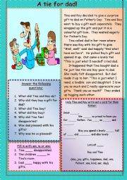 English Worksheets: A tie for dad!