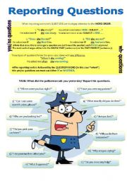 English worksheet: PART 2 - THE REPORTED SPEECH - REPORTING QUESTIONS