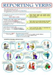 English Worksheet: PART 3 - THE REPORTED SPEECH - REPORTING VERBS - 2page ws + key