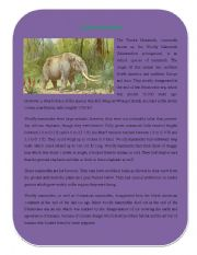 English Worksheets: Extinct Animal Part 4 ( Tundra Mammoth)
