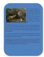 English Worksheets: Extinct Animal Part 5 ( Dire Wolf)