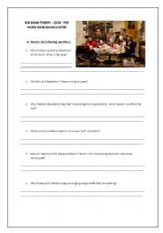 English Worksheet: Big Bang Theory 2x18 - The Worksong Nanocluster.