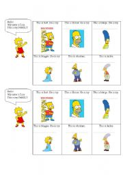 English worksheet: Family members - The Simpsons