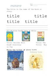 English Worksheets: The Title and Author of a book