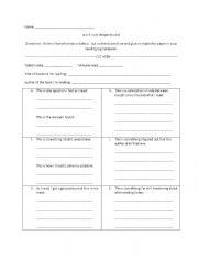 English Worksheet: Active Reading Log for SSR time