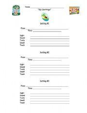 English Worksheets: Setting - Sensory Writing
